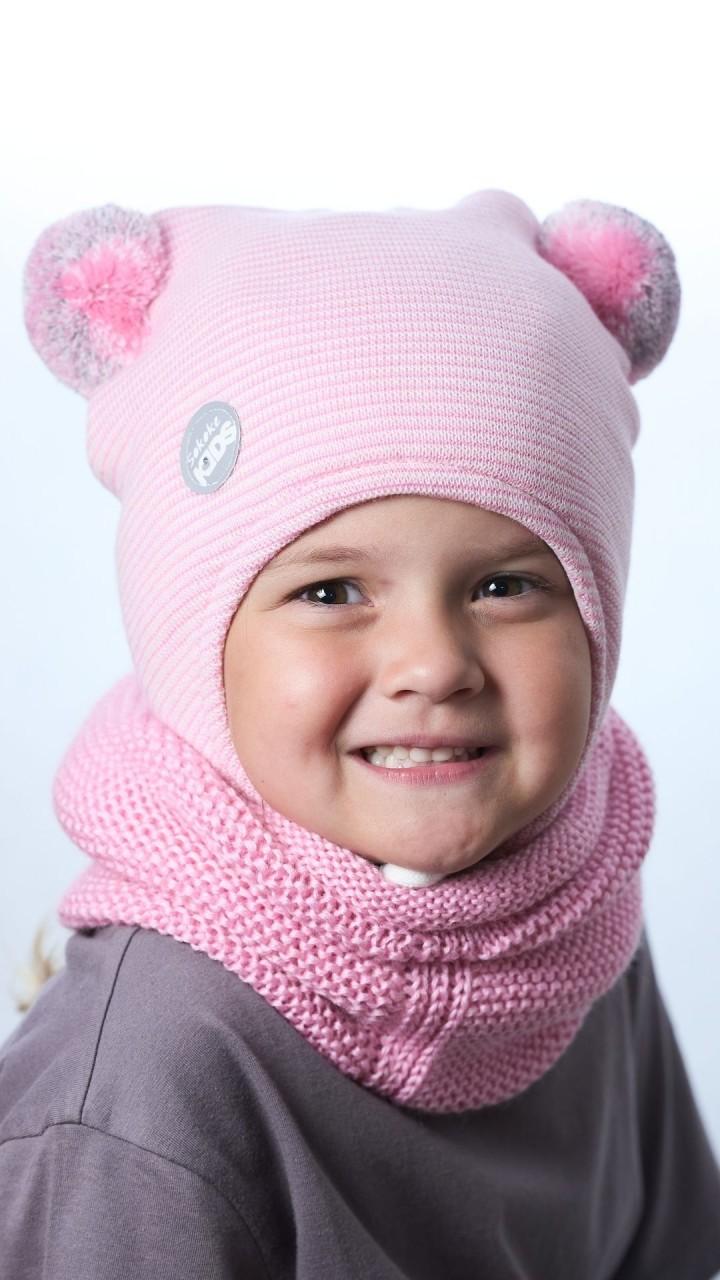 ШЗ-22022 Шапка детская, розовое суфле-снежок