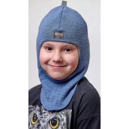 ДМШЛ-2101 Шапка-шлем, синий меланж-джинс