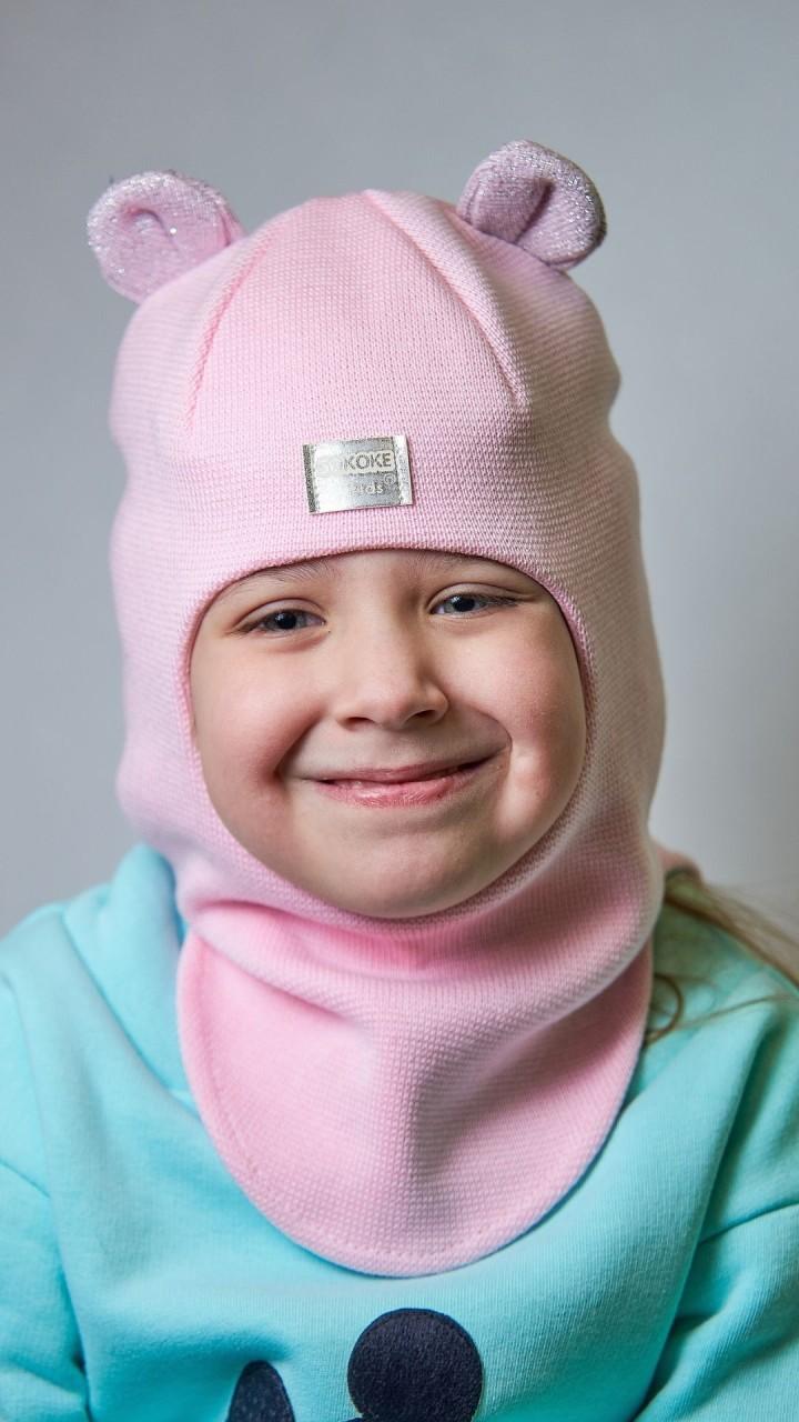 ДМШЛ-2104 Шапка-шлем, розовое суфле