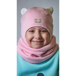 ДМШЗ-01 Комплект (шапка, снуд), розовое суфле