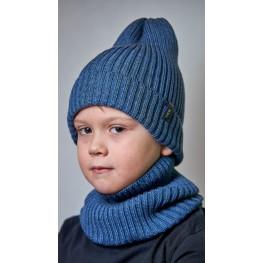 ДМШ-03 Комплект (шапка, снуд), синий меланж