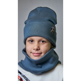 ДМШ-01 Комплект (шапка, снуд), серый муссон