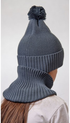 ДМШ-05 Комплект (шапка, снуд), серый муссон
